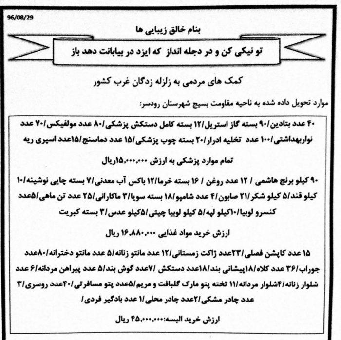 کمکهای مردمی اهالی گیلاکجان به زلزله زدگان کرمانشاه