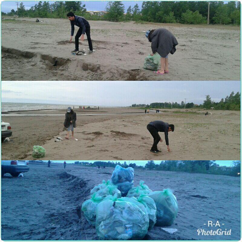 پاکسازی ساحل زیبای گیلاکجان از زباله های نازیبا